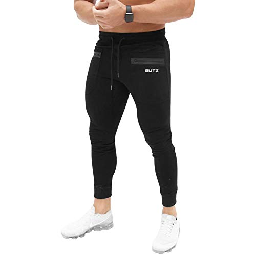Mechaneer Men's Casual Sweatpants Bodybuilding Sportswear Running Trousers Zipper Pocket(Black Small/Tag L)