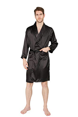 MAGE MALE Men's Summer Luxurious Kimono Soft Satin Robe with Shorts Nightgown Long-Sleeve Pajamas Printed Bathrobes (Black01, M)