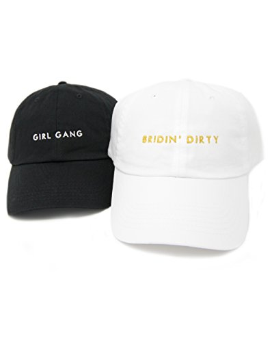 Bachelorette Party Hats - Bridin' Dirty and Girl Gang Bachelorette accessoires (Bundle: 1 Black:Girl Gang and 1 White:Bridin' Dirty, 2)