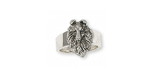 Collie Jewelry Sterling Silver Collie Ring Handmade Dog Jewelry COL5-R