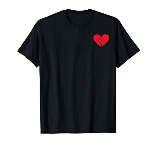 Broken Heart Shirt - Red Vintage Emoji Broken Heart Pocket Print T-Shirt