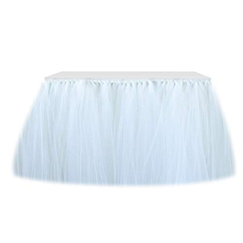 Table Skirt Tutu Christmas Decoration Wedding Tablecloth Fluffy Baby Shower Tableware Party&Home Christmas Decoration Handmade for Rectangle Table or Round Table (White, 9ft (L) x 30inch (H)) ()