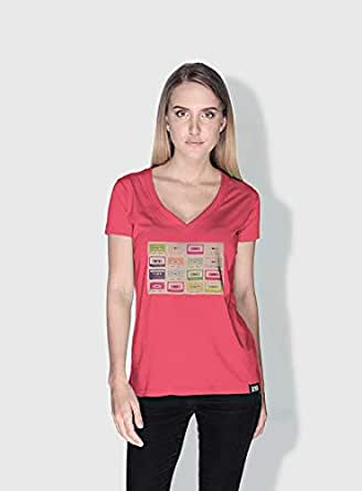 Creo Tapes Retro T-Shirts For Women - L, Pink