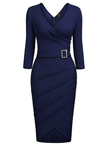 Evening 4 Nightout Pleated Navy Office Sleeve Blue 3 Dress Knitee Party Cocktail V Women's Sheath Bodycon Neck wBxzwY8q