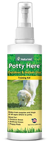 NaturVet - Potty Here Training Aid Spray | Attractive Scent Helps Train Puppies & Dogs Where to Potty | Formulated for Indoor & Outdoor Use (8 oz) (Best Dogs To House Train)