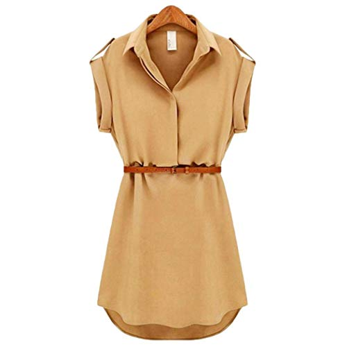 Queind Women Casual Turn-Down Collar Short Sleeve Solid Dress with Waist Strap Dresses Khaki