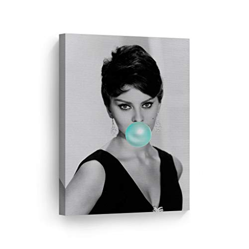 (SmileArtDesign Sophia Loren Teal Blue Bubble Gum Chewing Gum Wall Art Canvas Print Pretty Iconic Pop Art Home Decor Artwork Gallery Stretched and Ready to Hang -%100 Handmade in The USA - 12x8)