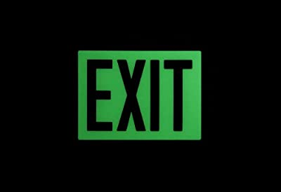 "Safe Glow Photoluminescent Exit Sign, ""EXIT"", 12-19/64"" Length x 9-1/2"" Width x 1/4 "" Height, T-Bar Mount (Pack of 1)"