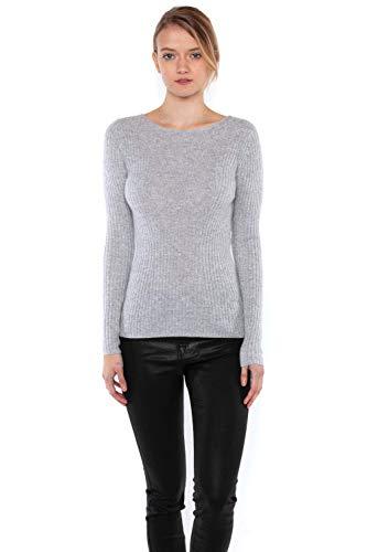 JENNIE LIU Women's 100% Pure Cashmere Long Sleeve Ribbed Boatneck Sweater(S, Grey)