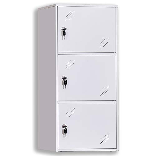 (3-Door Assembled and Combinable Office Metal File Locker, School Lab Supplies, and Bedroom Organizer, Steel Cabinet to Storage Toys, Tools and Clothes.)