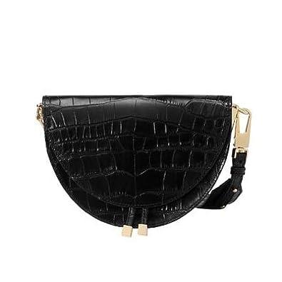 Fashion women Crossbody Bag Crocodile Semi circle Saddle Bags PU Leather handbag