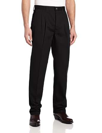 Wrangler Men's Big Riata Pleated Front Casual Pant, Black, 44x30