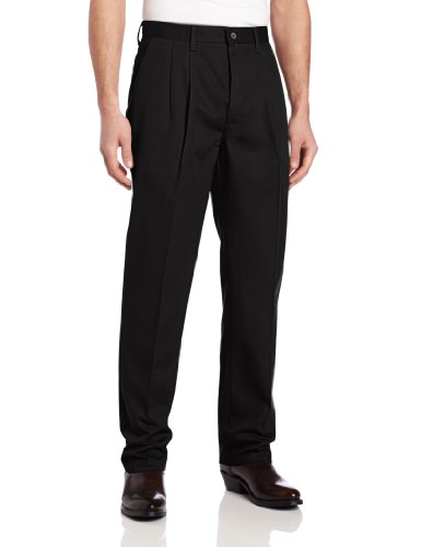 Wrangler Men's Riata Pleated Relaxed Fit Casual Pant, Black, 38x32