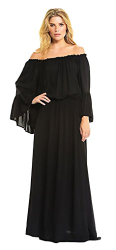 Elan Women's Long Sleeve Ruffled Off Shoulder Dress Small Black