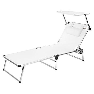 BERTONI Rambla Lit pliant en textilène avec pare-soleil Lit de plage et de piscine, Blanc, Taille unique