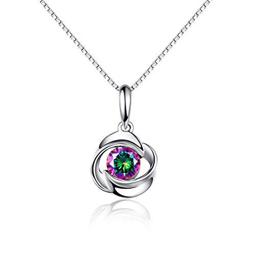 (PAKULA 925 Sterling Silver Women Simulated Mystic Rainbow Topaz Swirl Pendant Necklace Chain 18 Inch )