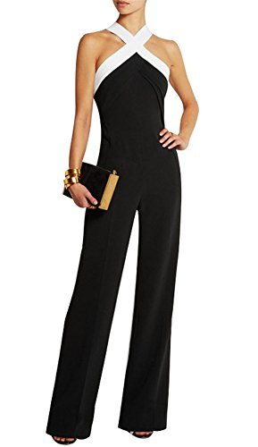 d8197c555a7 Mujer Fiesta Mono Vestir sin Mangas Ladies Jumpsuits para Mujer Going Out  Color Bloque Cruzar Pantalones Largo Mono Playsuits  Amazon.es  Ropa y  accesorios