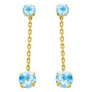 So Chic Bijoux © Boucles d'oreilles Femme Pendant Chaînette Topaze Bleu Or Jaune 750/000 (18 carats)