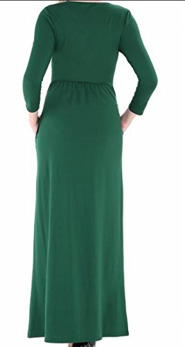 Soirée Swing Taille Empire Couleur Unie Occasionnels Femmes Domple Bal Robe De Soirée Maxi Vert