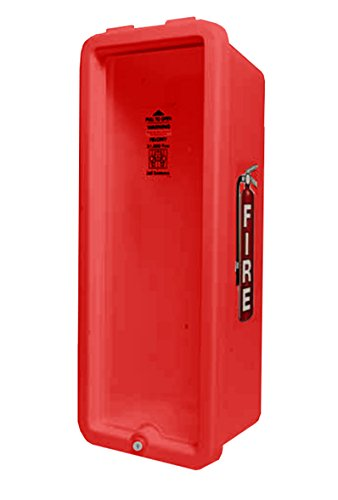CATO 10551-P Red Plastic Chief Fire Extinguisher Cabinet for 2-1/2 or 5 lb. Extinguisher, with Clear Pull Panel and Cylinder Lock