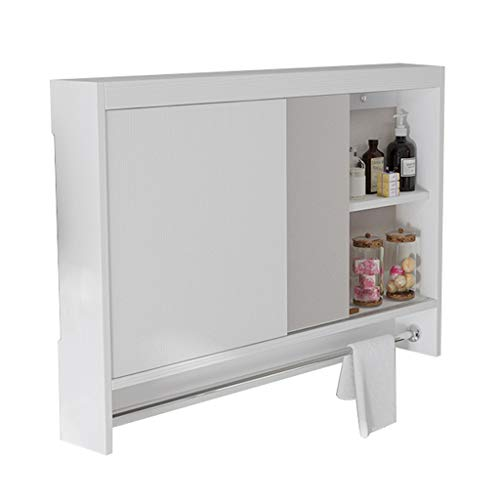 Peaceip US White Sliding Door Bathroom Mirror Cabinet, Multi-Layer Solid Wood Cabinet -