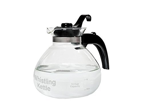 Glass Stovetop Kettle, Whistling, German Borosilicate, 12-Cup, Heat Resistant, Tea ()