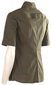 HANITA Camicia Donna Mezza Manica Slim Militare con Applicazioni Ricami Strass H.C417.2726 Made in Italy