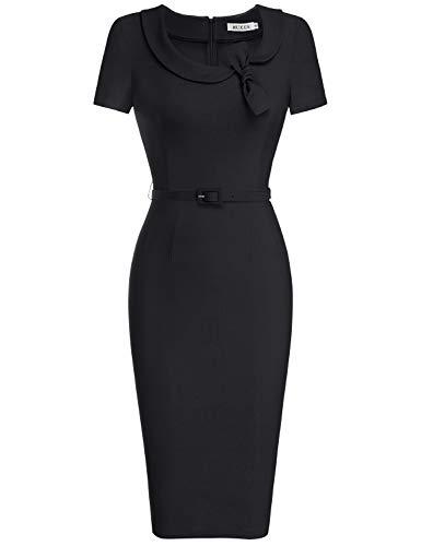 MUXXN Lady 1930's Short Sleeves Tunic Sheath Formal Wear to Work Midi Dress (Black L)