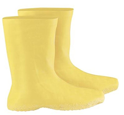 """Radnor 3X Yellow 12"""" Latex Hazmat Overboots With Ribbed And Textured Outsole (48 Pair)"""