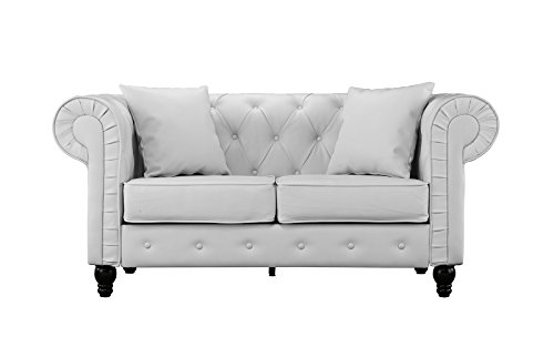 Loveseat Sofa Faux Leather (Sofamania Classic Scroll Arm Tufted Bonded Leather Chesterfield 2 Seater Loveseat (White))
