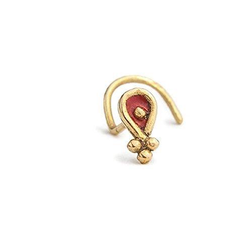 Small Nose Ring: 14k Gold Nostril Stud w/ Enamel in 18 Gauge by Studio Meme