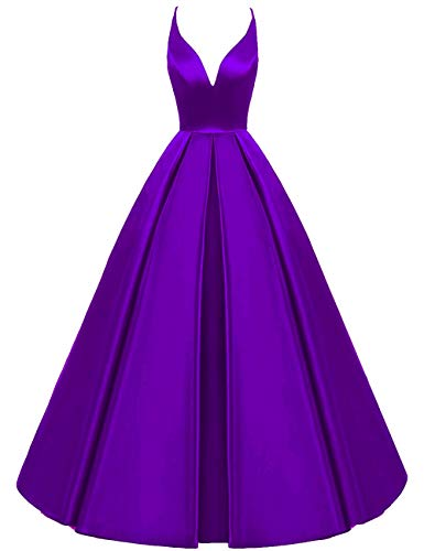 Evening Bridal s V Dress Bess Prom Neck Pleated Deep Formal Backless Women Purple Party AdwqqvgU