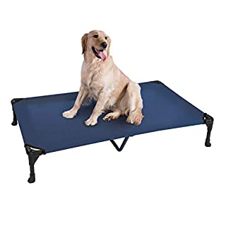 Veehoo Cooling Elevated Dog Bed, Portable Raised Pet Cot with Washable & Breathable Mesh, No-Slip Rubber Feet for Indoor & Outdoor Use, X Large, Blue