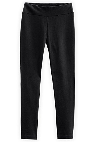 Fair Indigo Fair Trade Organic Slim Leg Knit Pants (L, Black)