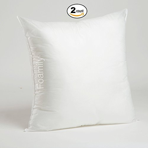 Set of 2 - 24 x 24 Premium Hypoallergenic Stuffer Pillow Insert Sham Square Form Polyester, Standard / White - MADE IN USA (X Pillow 26 Form 26)