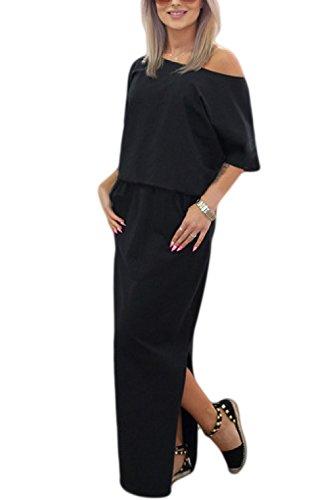 La Mujer Es Elegante Vestido De Un Hombro Hendidura Turno Maxi Vestido De Verano Black