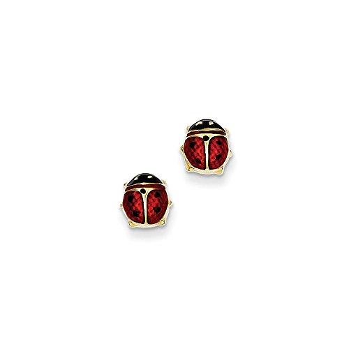 Yellow Enameled Ladybug (14k Yellow Gold Enameled Ladybug Earrings)