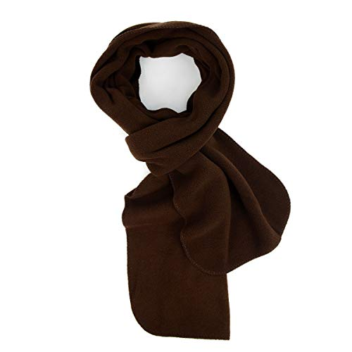 Nolllia Solid Color Fleece Unisex Winter Scarf (Brown)
