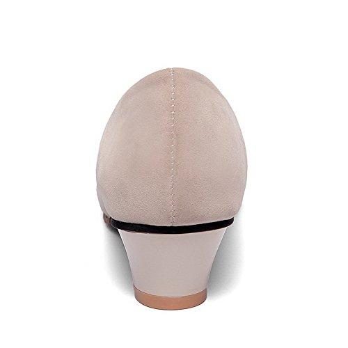 AllhqFashion Gamuza cordones Albaricoque Sólido Sin salón Imitado Tacón Mujer Mini De rOqEwHrX