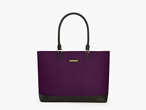 Archer Brighton Isabel Womens Laptop & Tablet Zip Tote, Womens 15.6 & 17 Inch Business Computer Briefcase Bag with Crossbody, Leather Canvas Organizer Handbag Purse for Work, Travel (Bilberry)