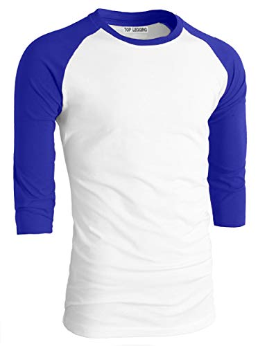 TOP LEGGING TL Men's Basic Crew Neck Cotton 3/4 Sleeve Essentail Raglan Baseball Tee Shirts BWHT_SRBLUE-S