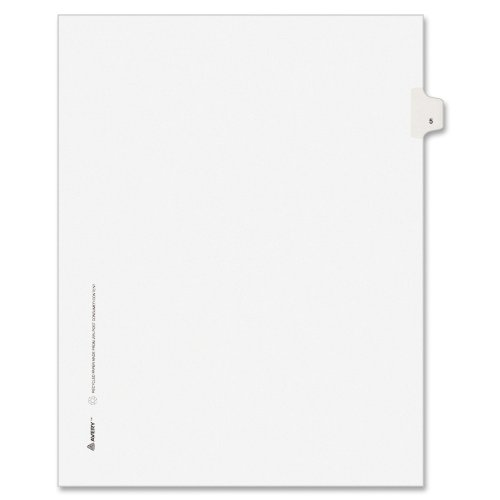 Avery Individual Legal Exhibit Dividers, Avery Style, 5, Side Tab, 8.5 x 11 inches, Pack of 25 (11915), White ()