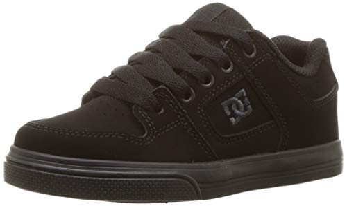 DC Pure Elastic Skate Shoe, Black, 5.5 M US Big Kid ()