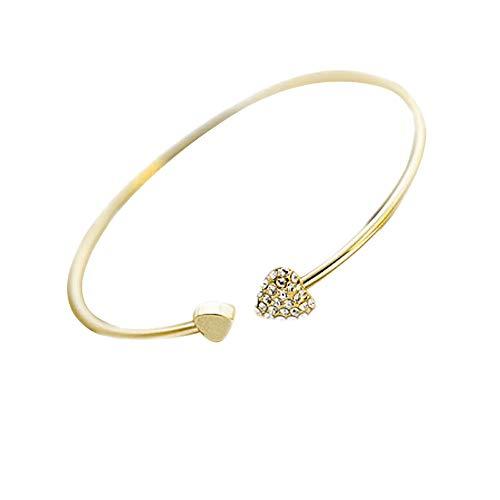 2019 WoCoo New Heart Crystal Love Opening Bracelet Crystal Bracelets Bracelets for Women(Gold)