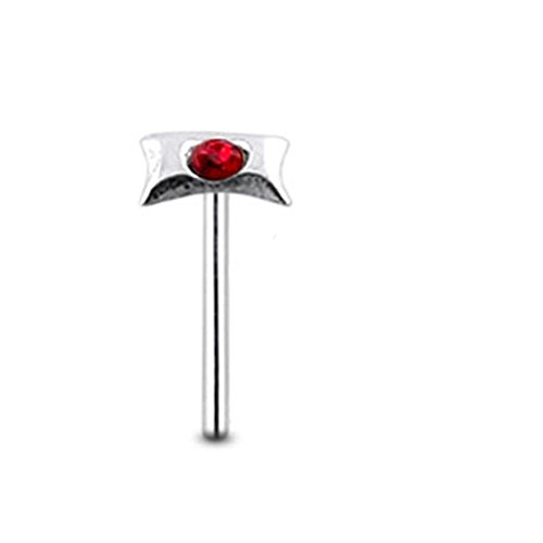 Red Gem BOW Sterling Silver Straight Nose pin Body (Sterling Bow Pin)