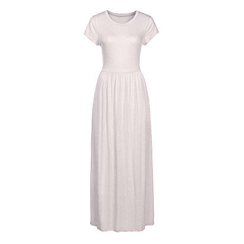 Birdfly Cool Luxe Femmes Coton Mercerisé Longue Pur Robe De Couleur Poche Xs-2xl Blanc