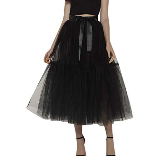 (Mysky Fashion Women Popular Solid Color Mesh Tulle Tutu Skirt Bridesmaid Princess Skirt Bubble Splice Skirt)