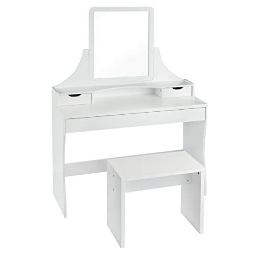 USA_Best_Seller Attractive Modern Nice New Luxury Vanity Wooden Makeup Dressing Table Stool Set with Mirror Furniture Bedroom Dressing Room Organizer Compact