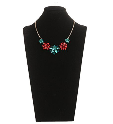 VOGUEKNOCK Gift Bow Necklace Tassel Pedant Jewelry for Christmas Green and Red Bow Pedant (5 bow) Christmas Jewelry