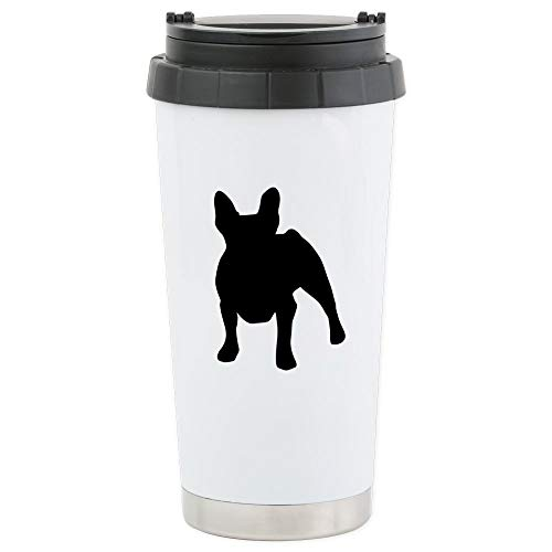 CafePress French Bulldog Stainless Steel Travel Mug Stainless Steel Travel Mug, Insulated 16 oz. Coffee Tumbler - French Silhouette Bulldog